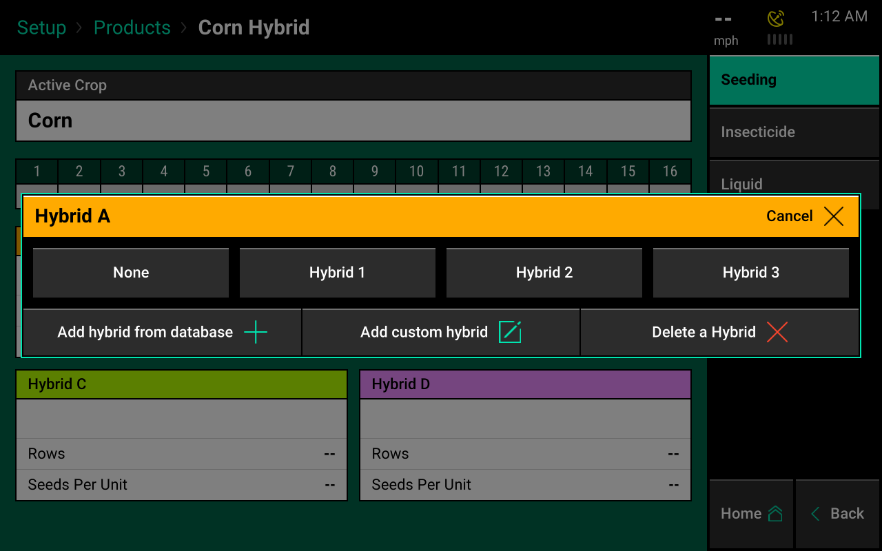 select hybrid a products menu screencap