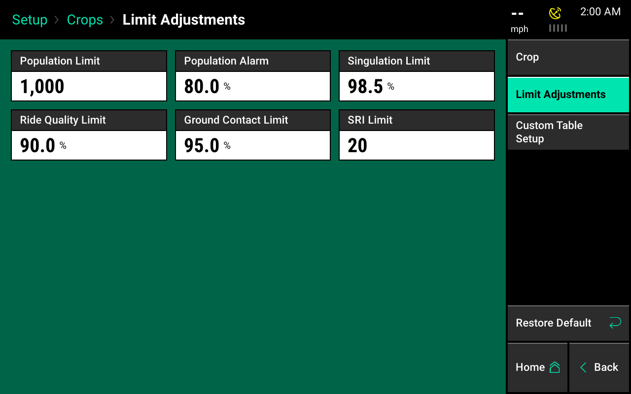 Crop limit adjustments screencap