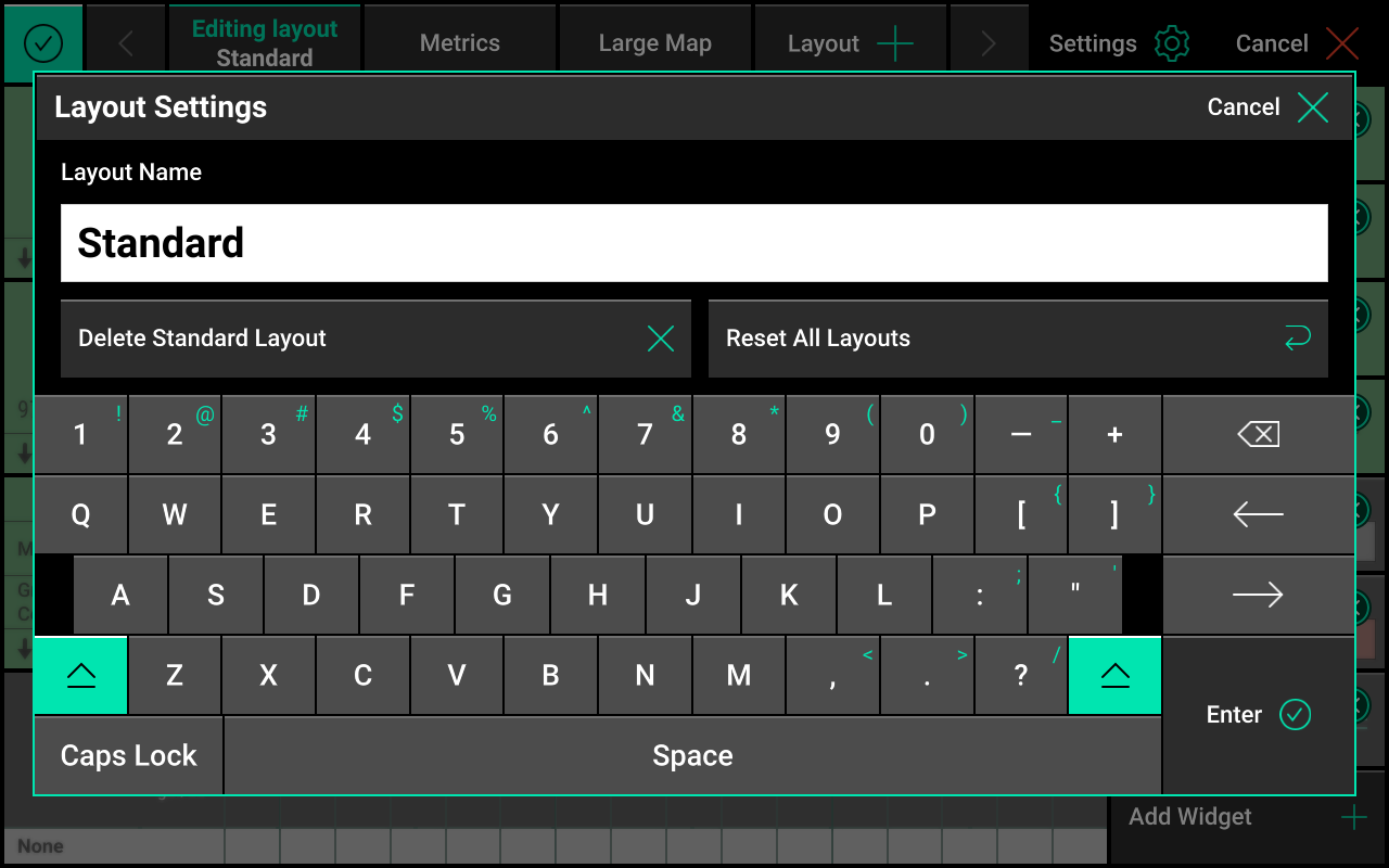 Layout settings screen