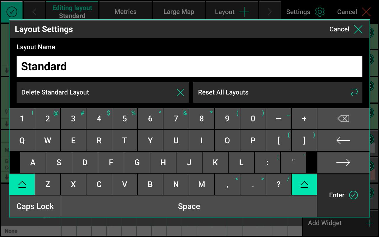 Layout settings screen