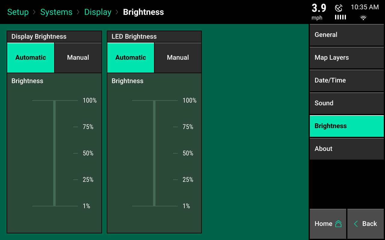 Configure brightness setting