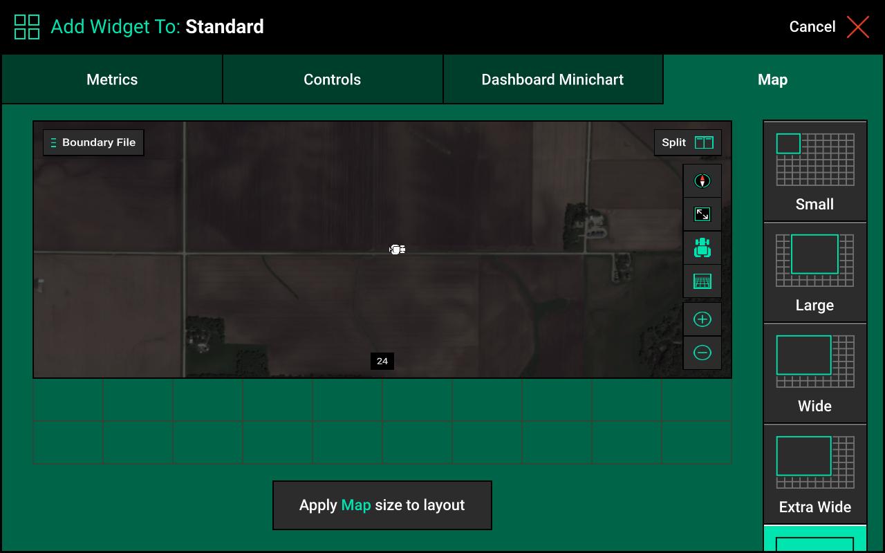 Screen when adding a Map widget