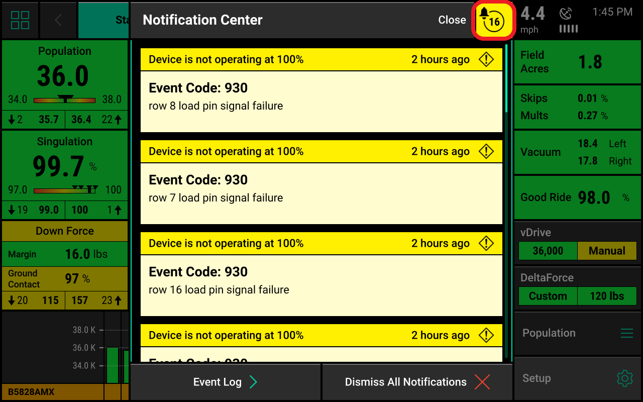 Screen showing notification center