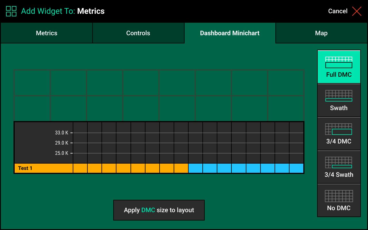 Screen when adding Dashboard Mini Chart