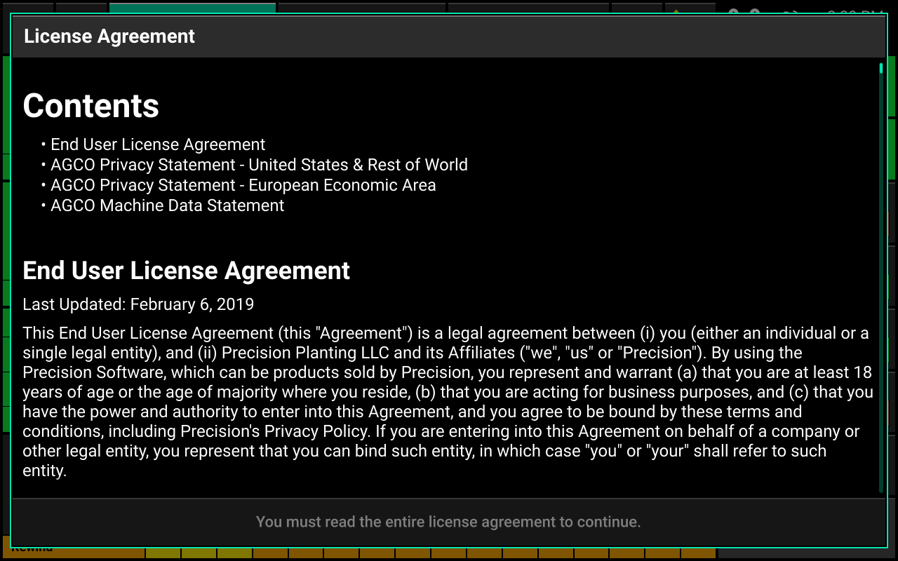 Screen showing license agreement